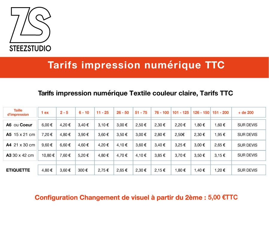 tarif impression numérique directe sur textile steezstudio
