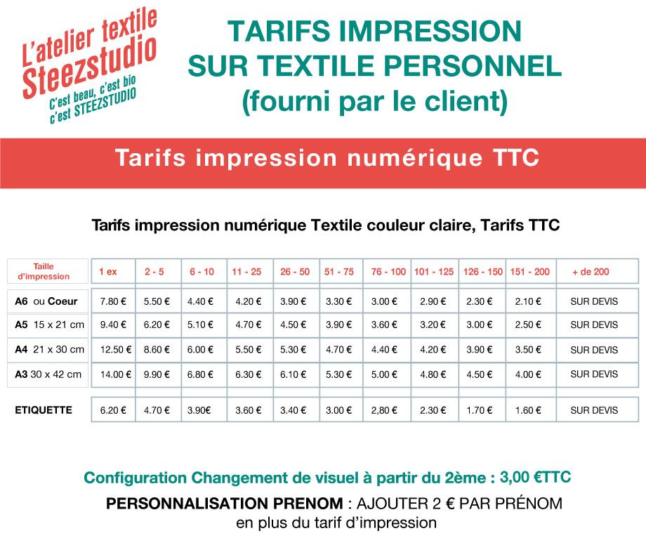 tarif impression textile sur textile perso