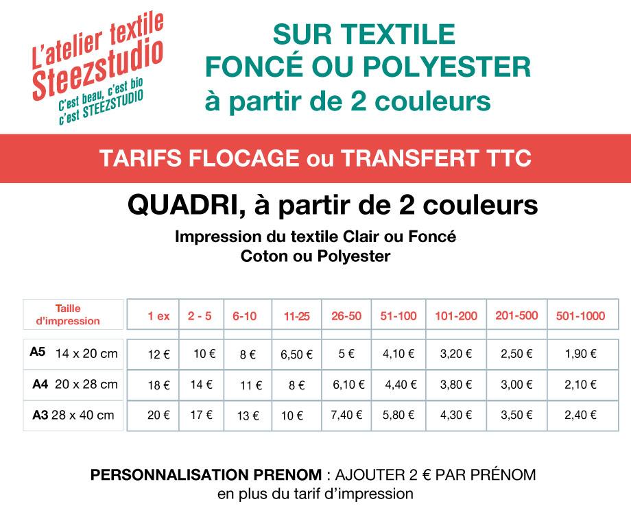 tarifs transfert quadri impression textile